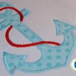 Anchor Applique with Rope Machine Embroidery Design WA010E