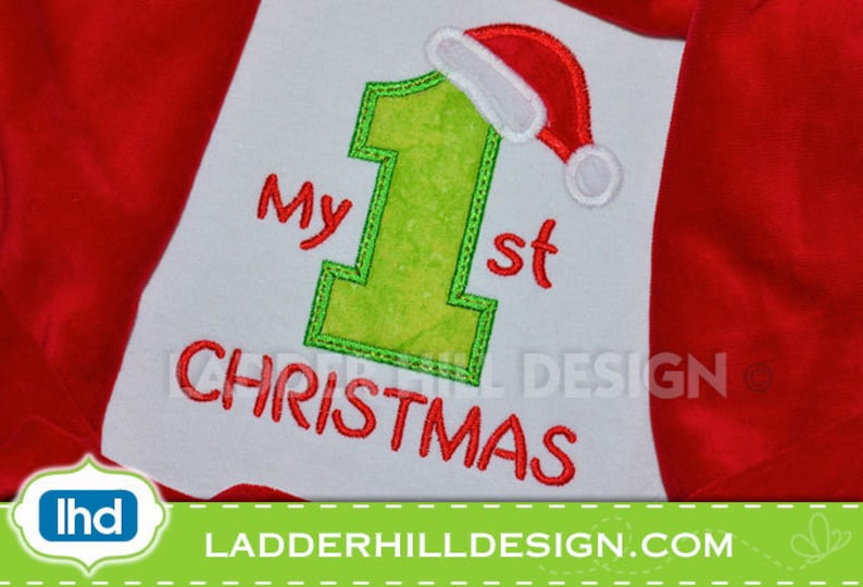 My First Christmas Applique  Christmas Embroidery Design image 0