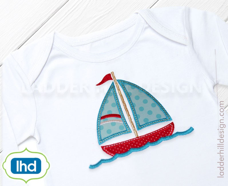 Sailboat in the water applique embroidery design sailboat etsy