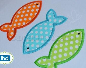 Fish Applique Design -- Fish Embroidery Design -- Triple Stack Fish Applique --  Summer Applique Design WA021