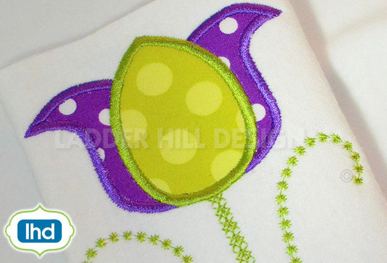 Tulip Applique  Easter Tulip Applique Machine Embroidery image 0