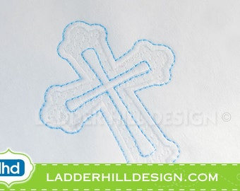 Cross Machine Embroidery Design -- Fancy Motif and Satin Cross Easter Embroidery Design REL008