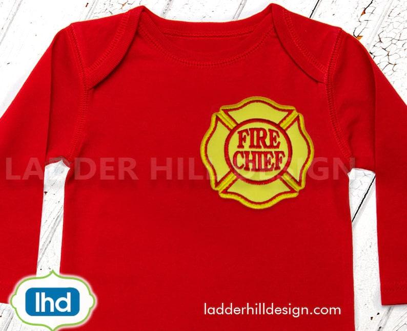 Fire Chief Maltese Applique  Little Fireman Firefighter  image 0