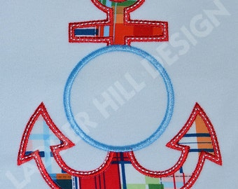 Monogram Anchor Applique Machine Embroidery Design WA010EE