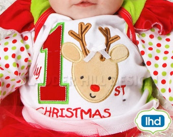 Babys First Christmas Applique -- My First Christmas Applique ~ Christmas Embroidery Design CHR050