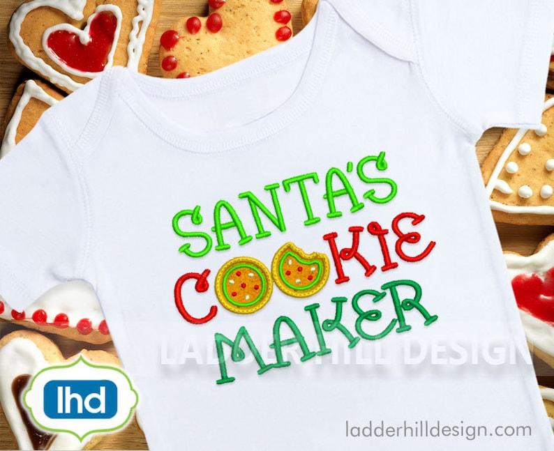 Santas Cookie Maker Applique Christmas Embroidery Design image 0