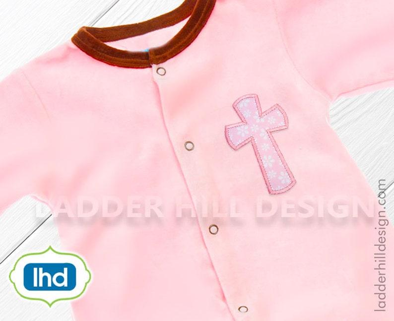 Baptism Embroidery Applique Design  Cross Applique image 0