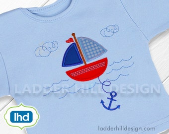 Nautical Sailboat Applique in Water Embroidery Design WA020