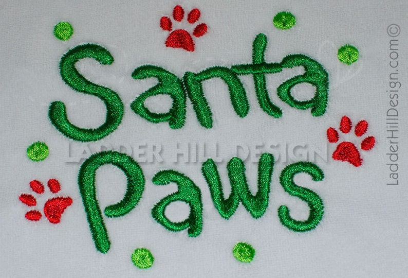 Santa Paws  Dog Christmas Embroidery Design chr041 image 0