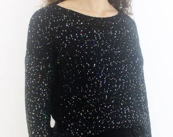 Black sequins knitted sweater