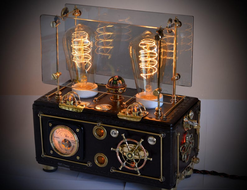 Steampunk Lamp Octopus Brown Yacht V3 With Rgb Illumination Dimmer And Two Edison Bulb