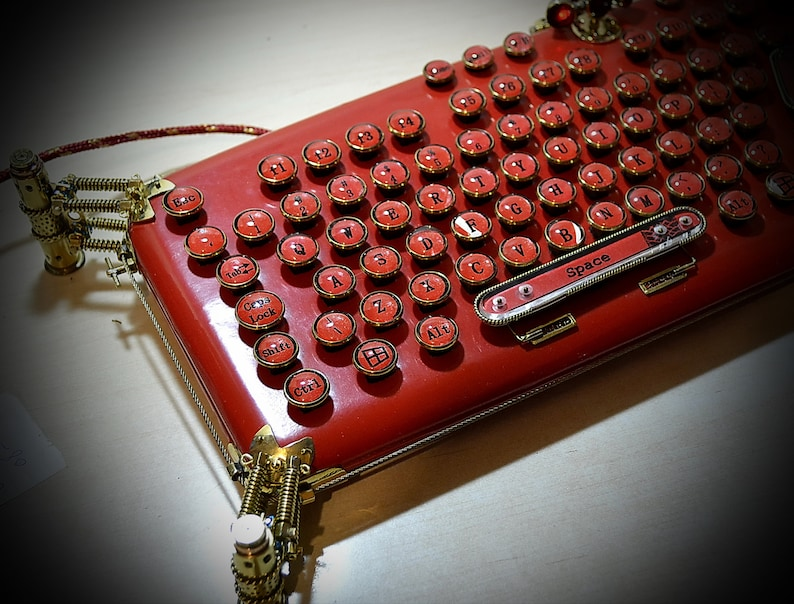 c434600ff2f9f Steampunk keyboard RED