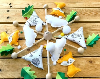 mobile foxes and tipis, clouds and flakes, cradle suspension, baby room decor, mobile baby, mobile drill, mobile fox