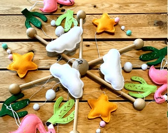 Mobile flamands-roses, stars, clouds and flakes, crib suspension, decoration baby room