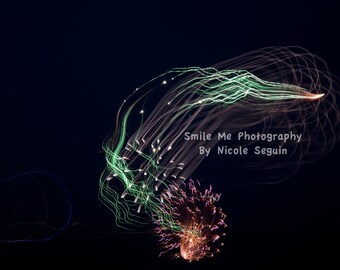 Green Fireworks Photograph - Digital Print