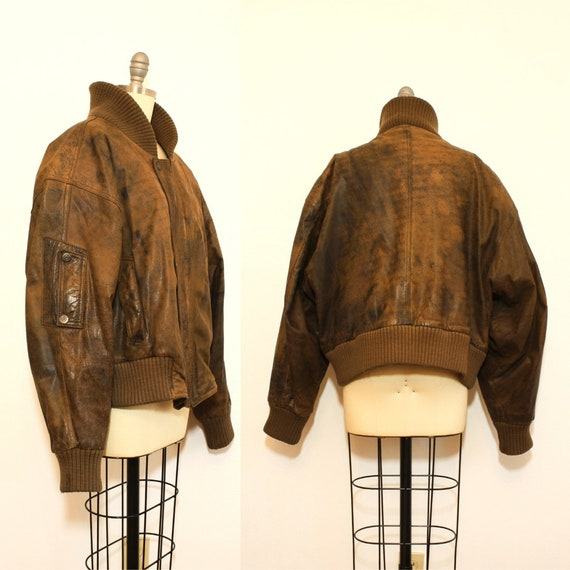 1980's CHIA Leather Bomber Mens Jacket