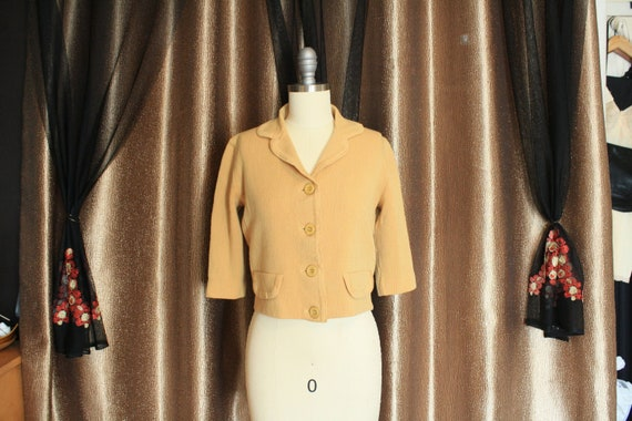 1950's Wool/Mohair Knit Sweater Top M - Casual Vin