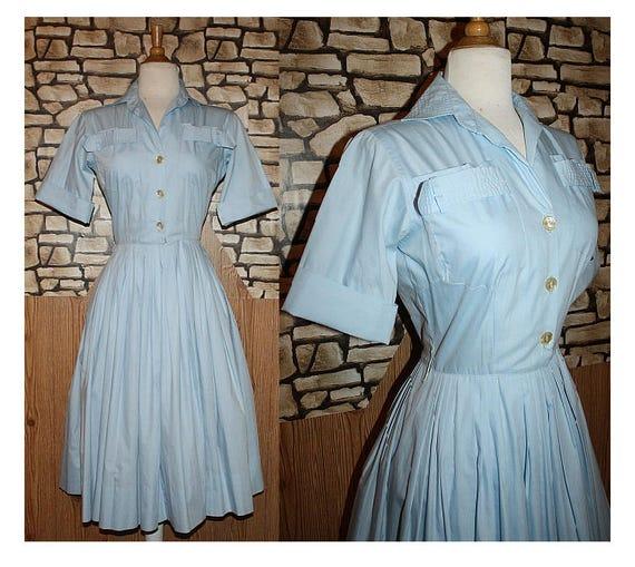 Classic 1950's Blue Shirtwaist Full Skirted Day Dr