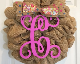 New! Spring Pink Burlap Wreath