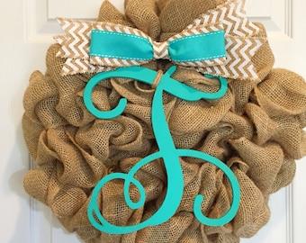 Teal Monogram Burlap Wreath