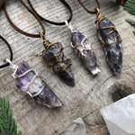 Chevron Amethyst Necklace, Wire Wrapped Copper Pendant on Comfy Faux Suede Cord