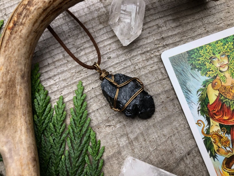 Raw Black Tourmaline Pendant Necklace Wire Wrapped Copper image 0