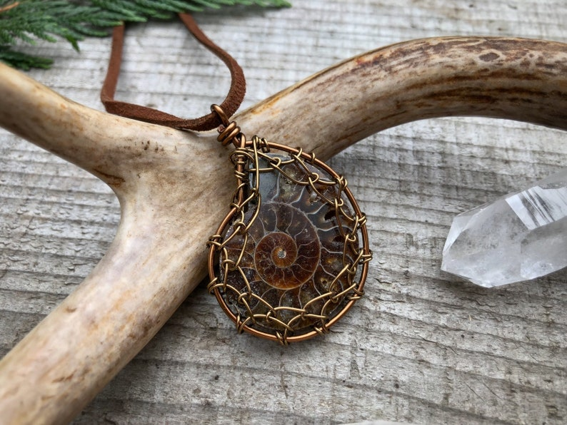 Wire Wrapped Ammonite Pendant Necklace Wire Wrapped Jewelry image 0