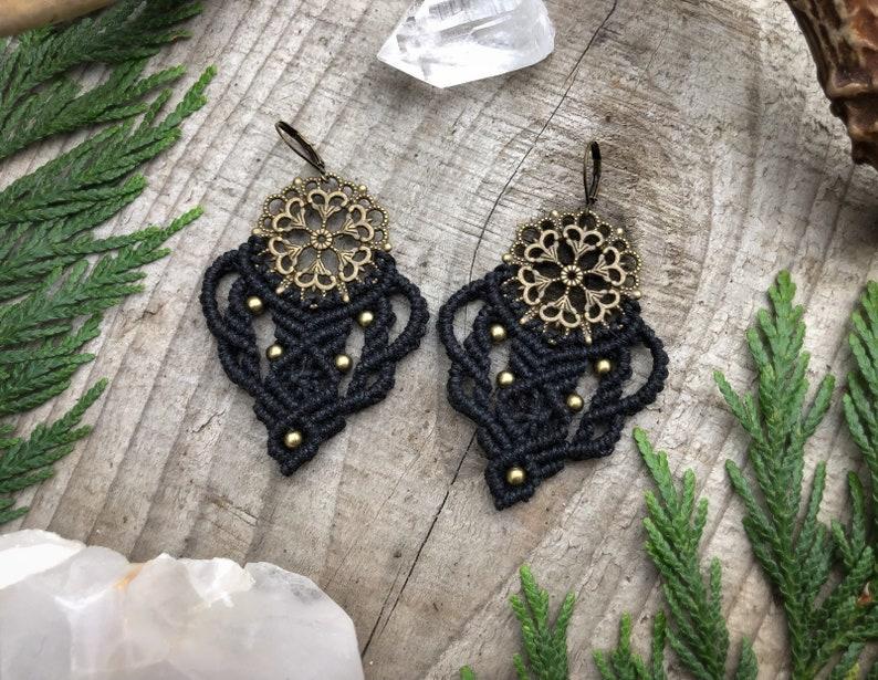 Bohemian Earrings Macrame Jewelry Festival Jewelry Brass image 0