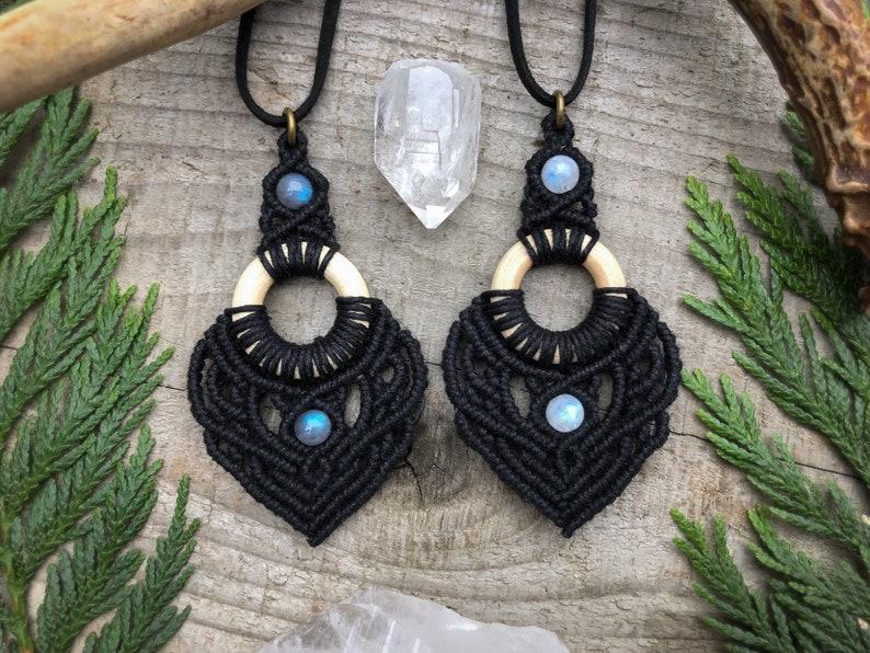 Macrame Pendant Necklace Birthday Gift for Her Custom image 0