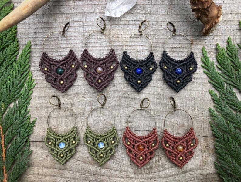 Custom Macrame Earrings Hemp Jewelry Hoop Earrings Bohemian image 0