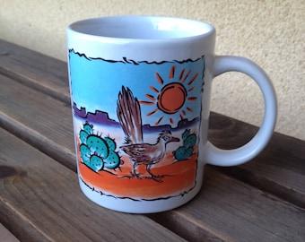 Arizona Mug, Desert Scene Mug, Desert Cup, Cactus Mug, Roadrunner Mug, Southwestern Mug, Arizona Souvenir, Desert Memorabilia, Desert Gifts
