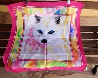 Wolf Scarf, Baby Wolf, Vintage Hipster Scarf,  Colorful Wolf Scarf, White wolf Scarf, Wolf Pink Scarf, Hipster Girl, Hipster Fashion