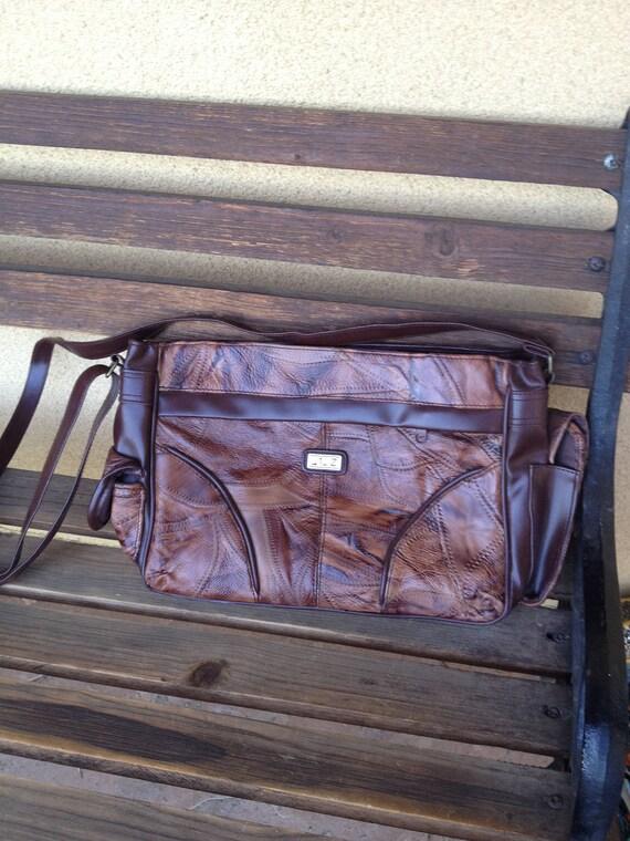 Brown Patchwork Bag, Leather Patchwork Handbag, Br