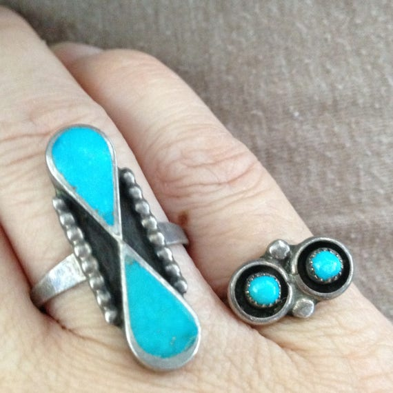 Turquoise Ring, Turquoise Double Stone Ring, Silve