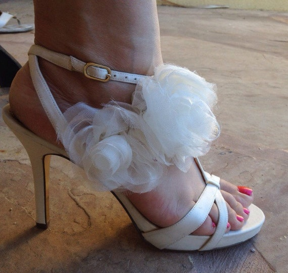 Satin Strappy Sandals, Holiday Party Sandals, Wedding Sandals, Off White Satin Designer Shoes, Nina Heels, Strappy High heels, Satin Rosette