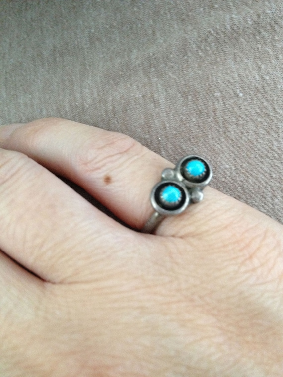 Turquoise Ring, Silver Turquoise Ring, Dainty Turq