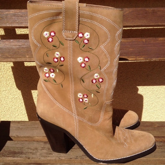 Brown Leather Boots, Suede  Boots, Embroidered Boo
