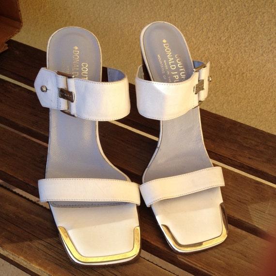 Designer White Sandals, Swanky Donald J Pliner San