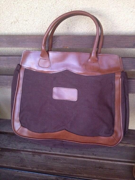 Canvas Shopper Weekend Tote Bag, Brown Vegan Shopp