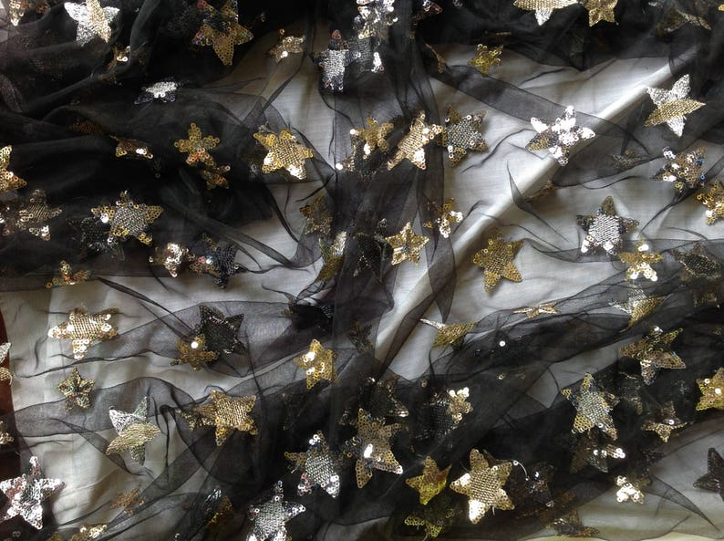a2b440b9fb Free Shipping!!1 Yard Star Sequin Fabric,Embroidery Lace Dress,French  Sequin Lace,Multicolor Sequins on Tulle Fabric,Wholesale Fabric