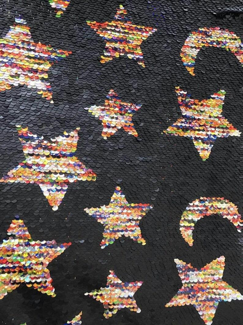 e76657944 0.8 yard Stars Moon Flip Sequin FabricReversible Sequin