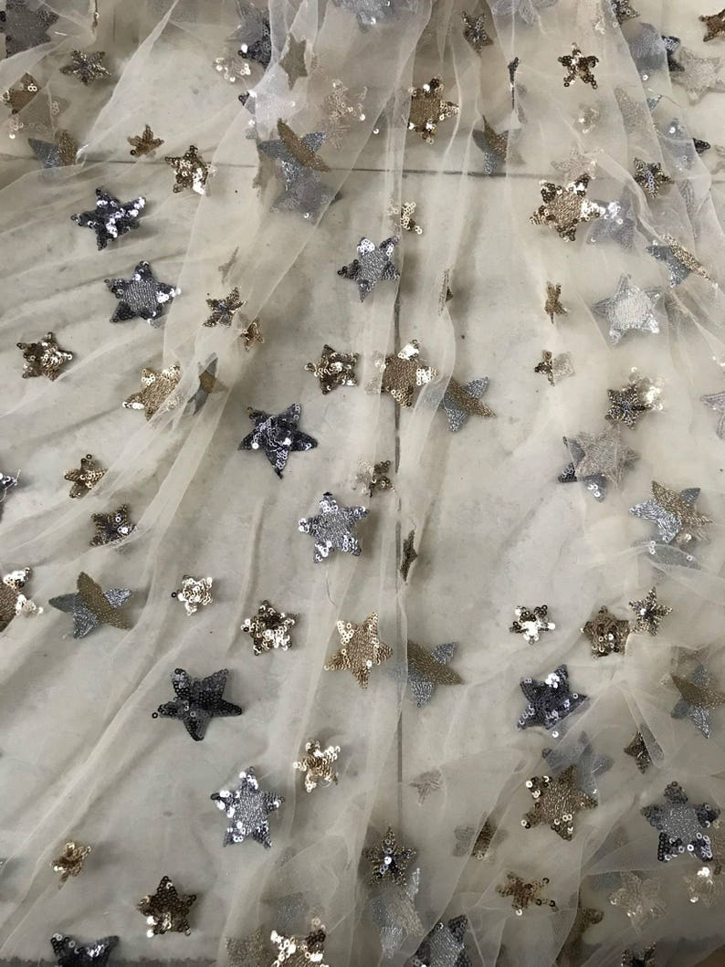 56d0f7dc1a Free Shipping!!1Yard Beige Sequin Star Lace Fabric,Embroidery Sequin  Fabric,Spring Flower Lace Dress,Bridal Wedding Dress Fabric by the Yard