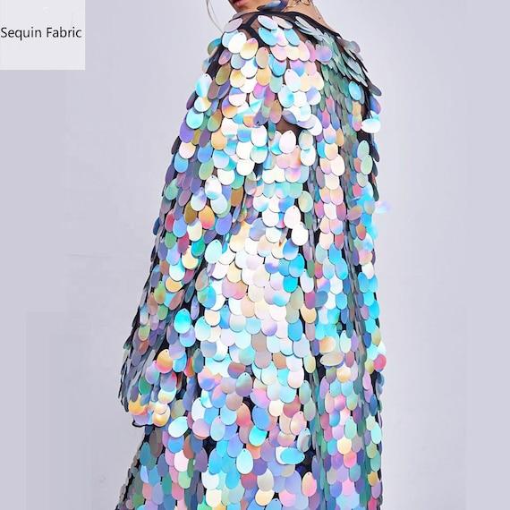 New!!1Yard Blush Pink Jumbo Sequin Fabric,Dangling Drop Sequin Tear Drop sequin Fabric,Baby Pink Mermaid Sequin Fabric,On Pink Mesh Fabric
