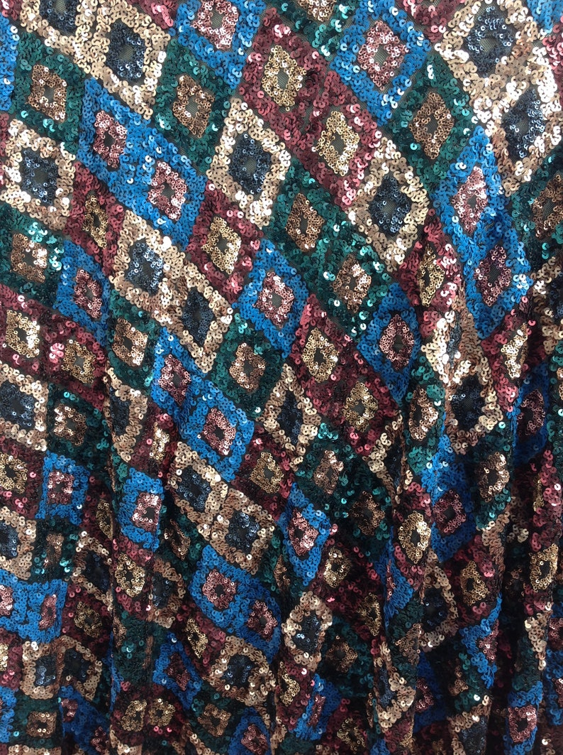New!1Yard Gorgeous Stretch Sequin Fabric,Soft Multicolor Floral Sequin Lace Dress,Houte Couture Dress Fabric,French Tulle Lace,Wedding Dress