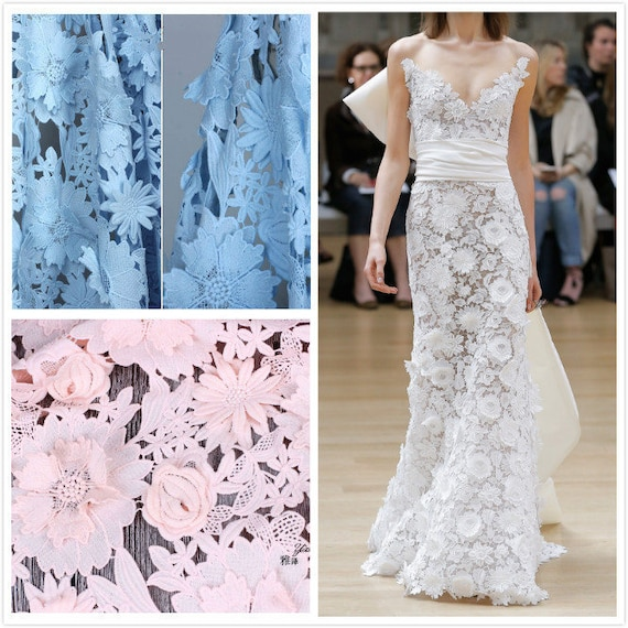 Gorgeous 3D Flower Lace Fabric Sky Blue Embroidery Lace Fabric For Wedding Dress Evening Dress Haute Couture Photography Bridal Gown