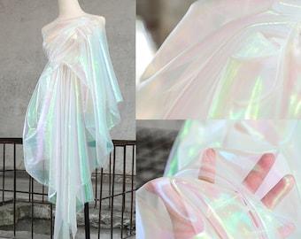 1 Yard Iridescent Holographic Gauze Fabric,Magic Organza Fabric.Wedding Dress,Background Fabric,Party Decor,DIY Supplies,Wholesale Fabric