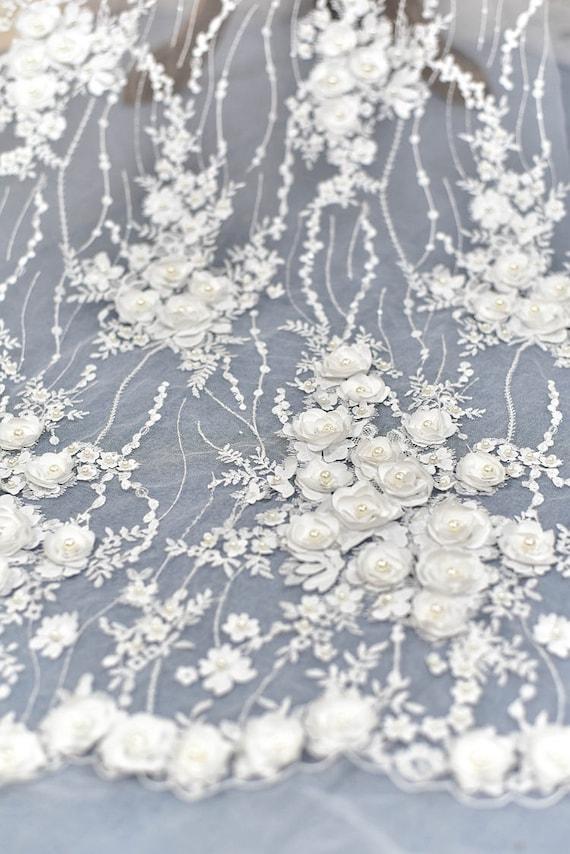 1 Yard 3D Flower Beaded Lace FabricWhite Pearl Wedding Dress | Etsy