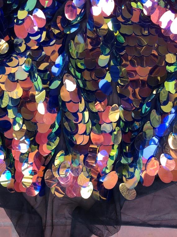 Nieuw 1yard Iriserende Jumbo Pailletten Stof Hangende Etsy