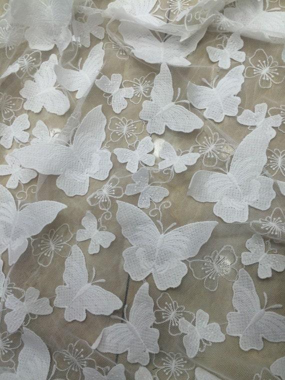 1 Stoczni Off Białe Tkaniny Koronki Motyl 3d Suknia ślubna Etsy