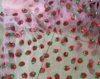 1Yard Sequin Little Strawberry Lace Fabric,Embroidery Sequin Fabric,Spring Flower Lace Dress,Bridal Wedding Dress Fabric by the Yard